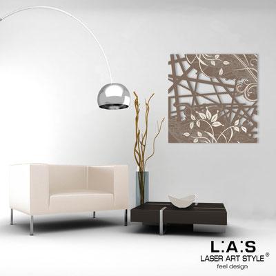 Abstract wall sculptures </br> Code: SI-110Q | Size: 90x90 cm </br> Colour: dove grey-cream engraving