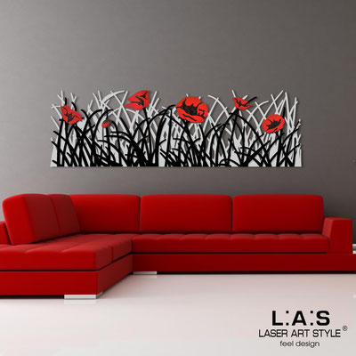 Floral wall sculpture </br> Code: SI-214 | Size: 180x55 cm </br> Colour: light grey-black-red decoration