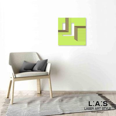 Quarantotto </br>  Codice: Q-020 | Misura: 48x48 cm </br> Colore: verde acido-incisione legno