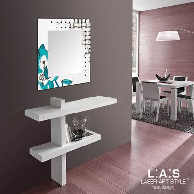 Mirrors </br> Code: SI-075Q-SP | Size: 90x90 cm </br>  Colour: white-bluette decoration-wood engraving