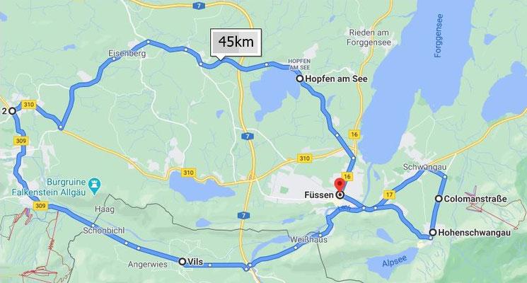 mit dem Bus Füssen - Coloman - Schloss Neuschwanstein Hohenschwangau - Vils - Pfronten - Hopfen