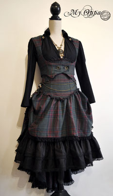 Création My Oppa Steampunk tartan 2016 costume dress fashion creation skirt corset jacket corsetry