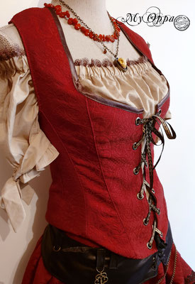 westcoat red steampunk my oppa creation gilet court vetement bohemian