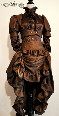 Création My Oppa steampunk Chocolaté 2015 costume dress fashion creation skirt corset jacket corsetry