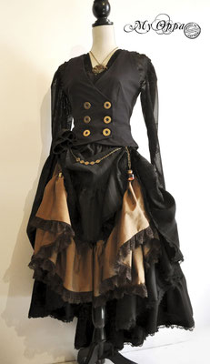 Création My Oppa steampunk Automne 2015 costume dress fashion creation skirt corset jacket corsetry