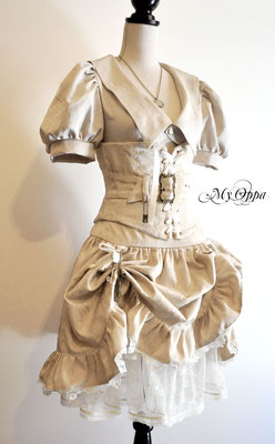 Création steampunk Blanc My Oppa 2014 costume dress fashion creation skirt corset jacket corsetry