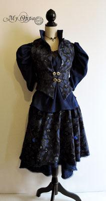 Création My Oppa Tenue Creation blue black poetic corset underbust creation 2019