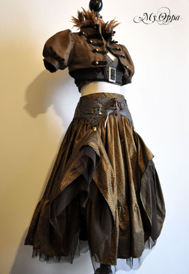 Création steampunk jungle My Oppa 2014 costume dress fashion creation skirt corset jacket