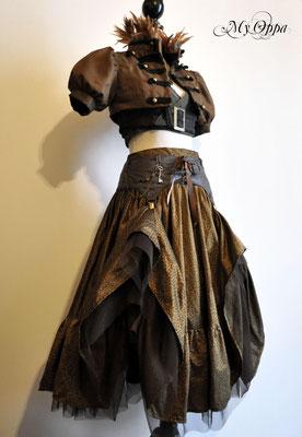 Création steampunk jungle My Oppa 2014 costume dress fashion creation skirt corset jacket belt corsetry