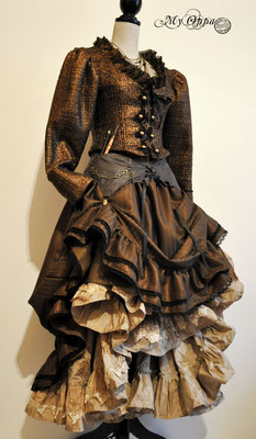 Création My Oppa Steampunk Or 2015 costume dress fashion creation skirt corset jacket belt corsetry