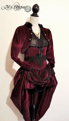 Création My Oppa Burlesque Curiosa 2015 costume dress fashion creation skirt corset jacket corsetry