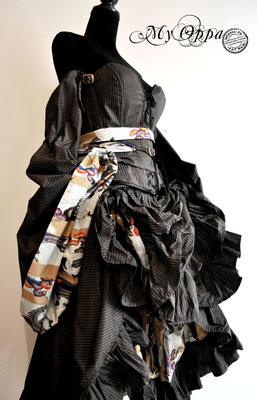 Creation My Oppa Fashion show steampunk asian kimono corset 2017 dress