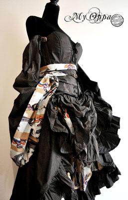 Creation My Oppa Fashion show steampunk asian kimono corset 2017 dress japan corsetrey coat