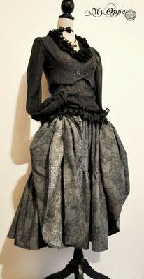 Création My Oppa Bohème grise 2015 costume dress fashion creation skirt corset jacket corsetry