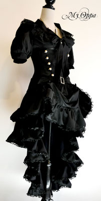 Création steampunk noir My Oppa Hiver 2014 costume dress fashion creation skirt corset jacket corsetry