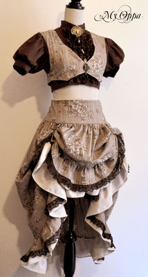 Création My Oppa Lady steampunk 2014 costume dress fashion creation skirt corset jacket corsetry