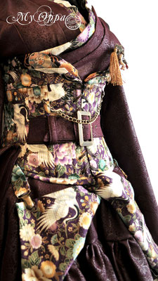 Creation My Oppa Fashion show steampunk asian kimono corset 2017 japan corsetrey coat