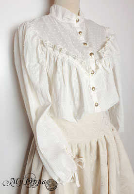 chemise plumeti steampunk blanc cassé création my oppa vêtement