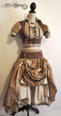 Création My Oppa Steampunk mori 2016 costume dress fashion creation skirt corset jacket corsetry