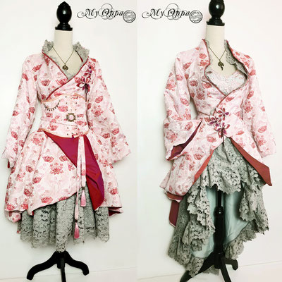 My oppa creation japanese kimono steampunk pink gray 2020 underbust corsetry fashion style flowers