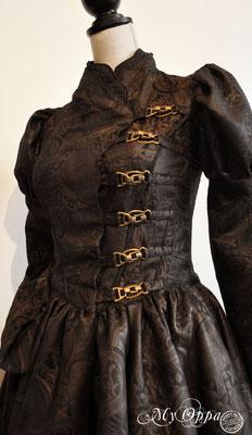 Creation My Oppa Fashion show steampunk asian chinese dress corset 2017 corsetrey coat