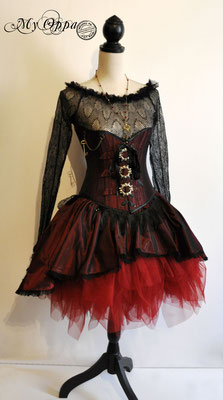 Création My Oppa Tenue gothic red corset underbust creation 2019