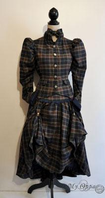 Création My Oppa Amazone steampunk tartan 2018 costume dress fashion creation jacket skirt corsetry