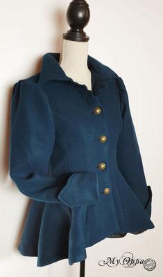 veste en laine bleu canard steampunk my oppa creation