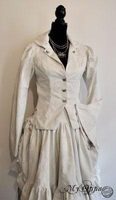 Creation My Oppa Fashion show steampunk asian kimono corset 2017 dress japan corsetrey butterfly wedding white gray clothes