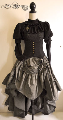 Création steampunk Lady Holmes 2016 costume dress fashion creation skirt corset jacket corsetry