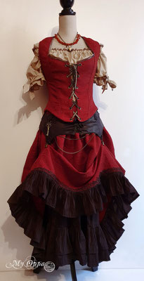My Oppa creation lady claus medieval steampunk red dress waistcoat 2019