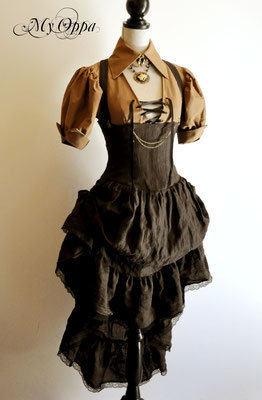 Création Robe My Oppa steampunk 2014 costume dress fashion creation skirt corset jacket corsetry