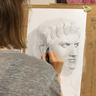 Gipskopf zeichnen In der Kunstschule Artgeschoss