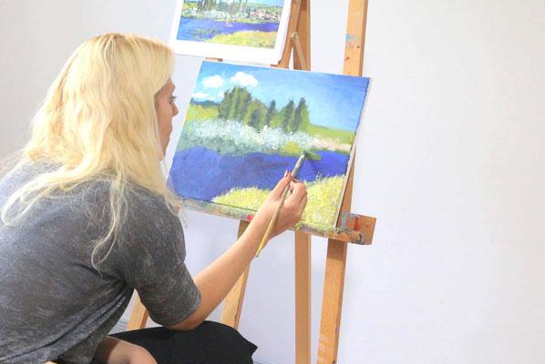 Landschaftsmalerei  in der Kunstschule Artgeschoss