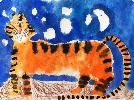 Tiger malen lernen Kinder .Aquarellmalerei für Kinder.