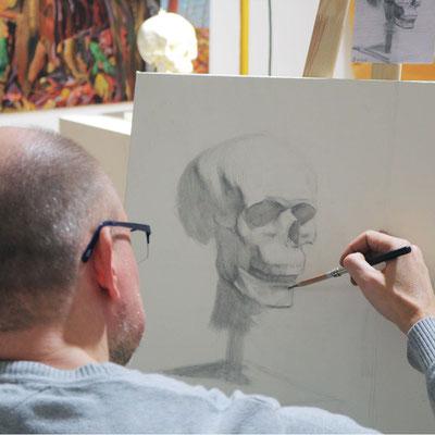 Schädel zeichnen In der Kunstschule Artgeschoss
