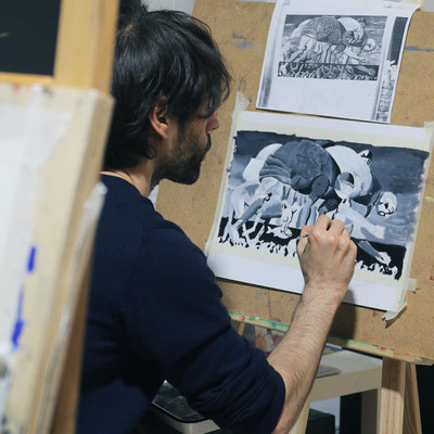 Bilder kopieren mit Eitempera In der Kunstschule Artgeschoss