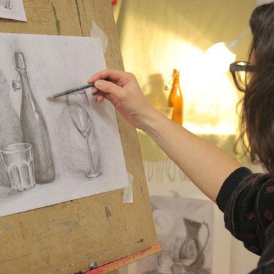 Glas zeichnen In der Kunstschule Artgeschoss
