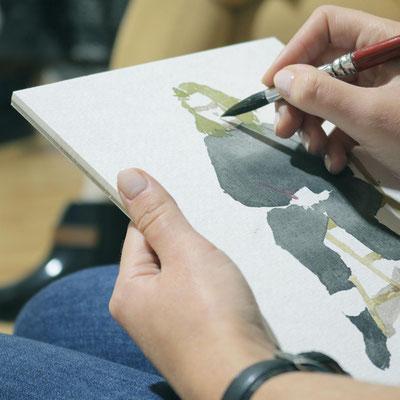 Aquarellskizzen In der Kunstschule Artgeschoss