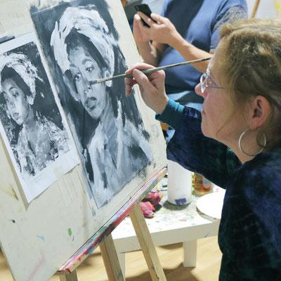 Portrait kopieren In der Kunstschule Artgeschoss