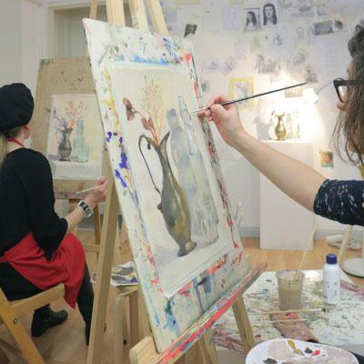 Stillleben mit Acrylfarben malen In der Kunstschule Artgeschoss