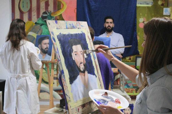 Ölmalerei in der Kunstschule Artgeschoss