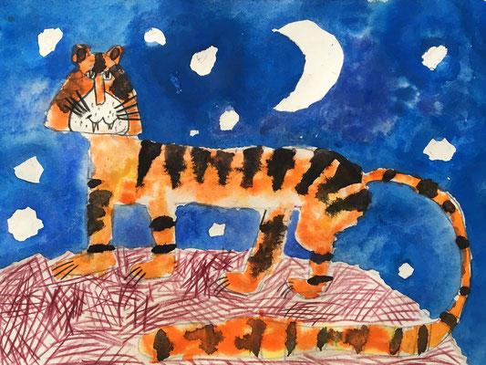 Tiger malen. Aquarellmalerei für Kinder.