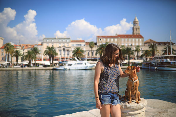 mit Hund in Split, Kroatien