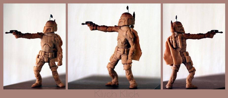 freie Arbeit Boba Fet Figur Super Sculpey gebrannt, unbemalt