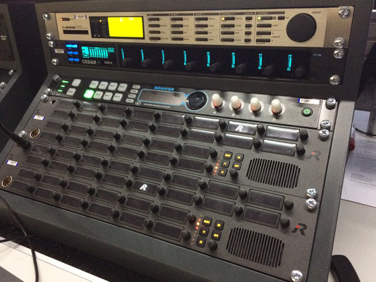 Sound Supervisor's AVN-MPTR Presenter Mixer Technician Controller (above Riedel TB units)