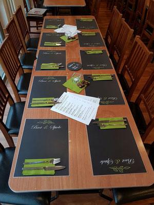 Mit Platzsets, ohne Tischdecken