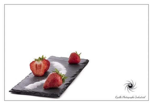 Photo de fraises réalisées en studio avec 4 flashs