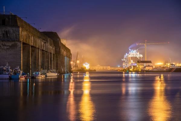 Saint-Nazaire 14 - Vue du port la nuit