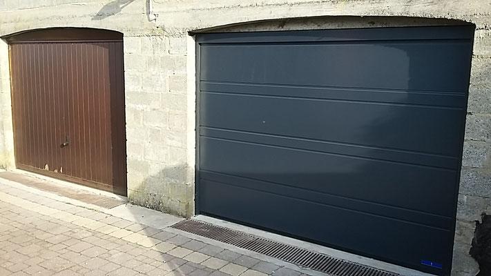 Porte de garage sectionnel RAL 7016 modèle silkgrain rainure D.